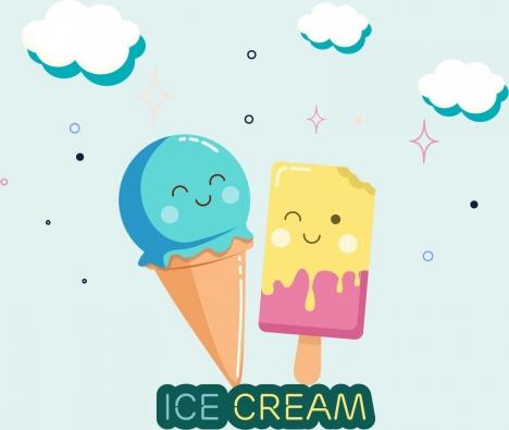 ice creams background cute stylized design