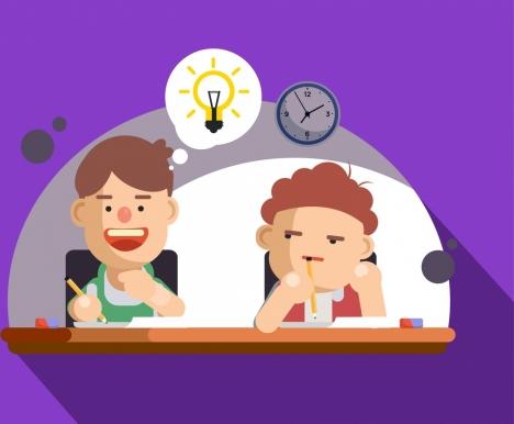 idea concept background learning pupils lightbulb icons decor