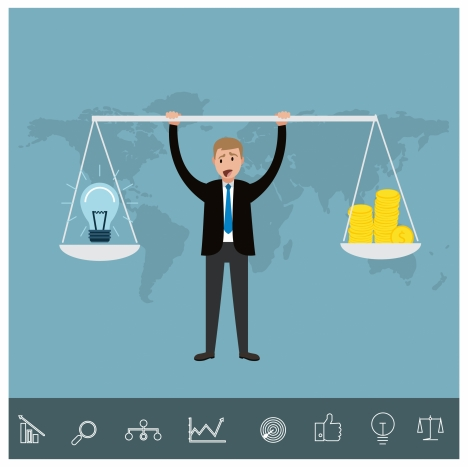 idea concepts illustration with businessman and balance