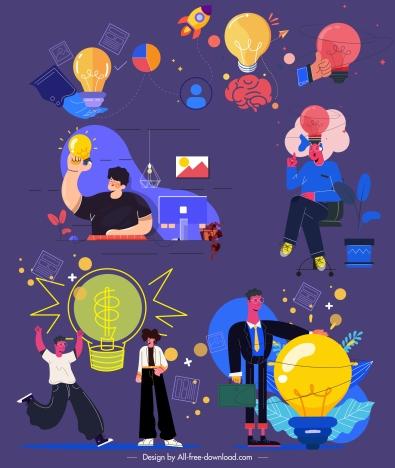 idea conceptual icons colorful flat cartoon sketch