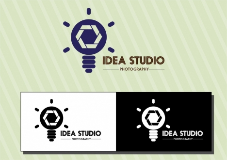 idea studio logo sets various background design