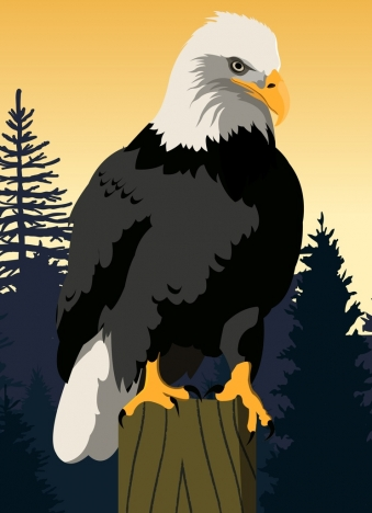 imposing eagle icon colored cartoon design
