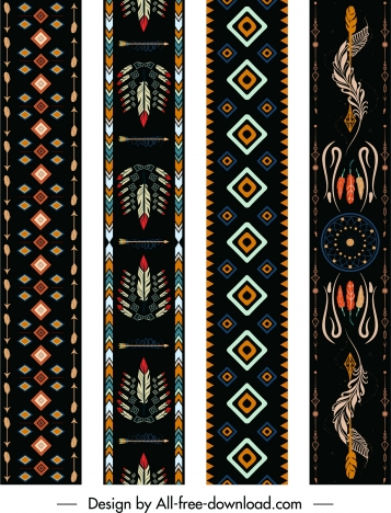 indian ethnic patterns templates colorful retro symmetric decor