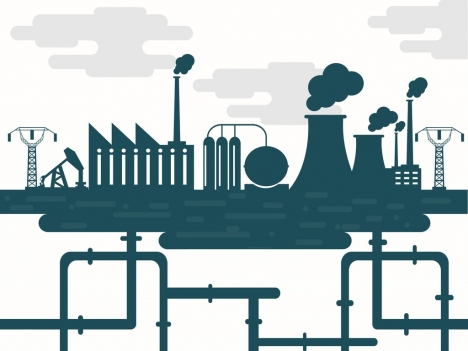 industrial background above and underground design silhouette style
