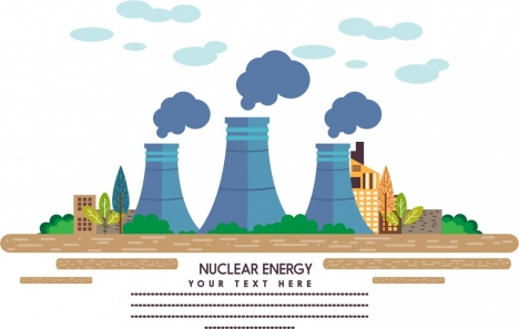 industrial concept design colored nuclear plant icon