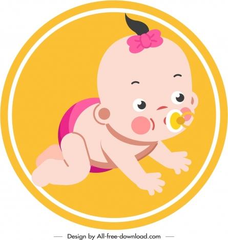 infant baby icon crawling gesture cute cartoon sketch