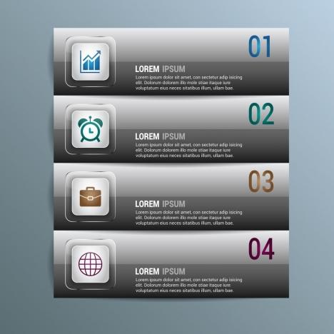infographic banner design horizontal grey shiny style