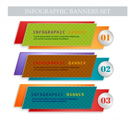 infographic banners set with 3d design style