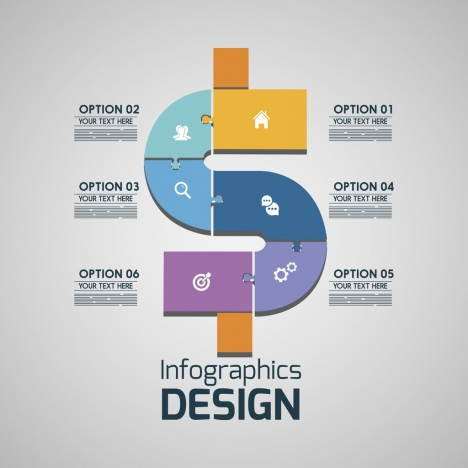 infographic design colorful puzzle decoration money icon