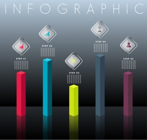 infographic design elements 3d column charts