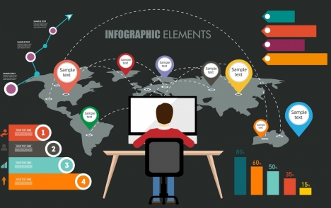 infographic design elements multicolored shapes decor