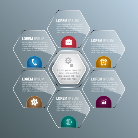 infographic design elements shiny transparent hexagon decoration style