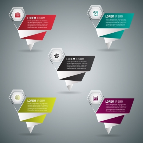 infographic design sets colorful origami style