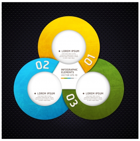 infographic design with colored rounds on black background