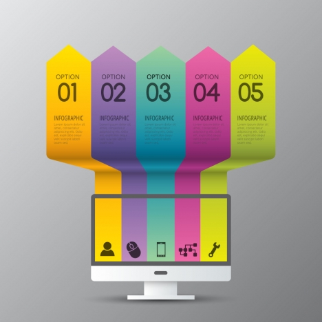 infographic design with colorful vertical arrows and television
