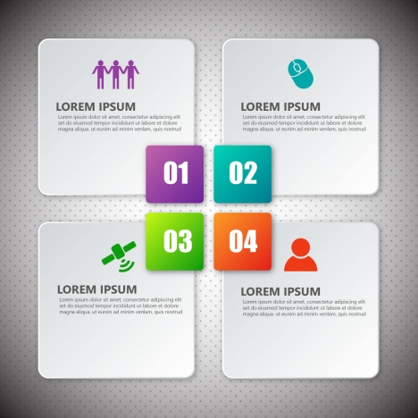 infographic design with four white squares