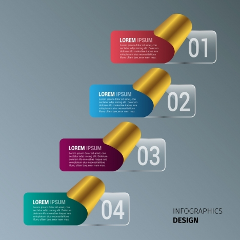 infographic template design golden curved paper style