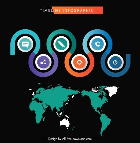 infographic template global map circles curves sketch