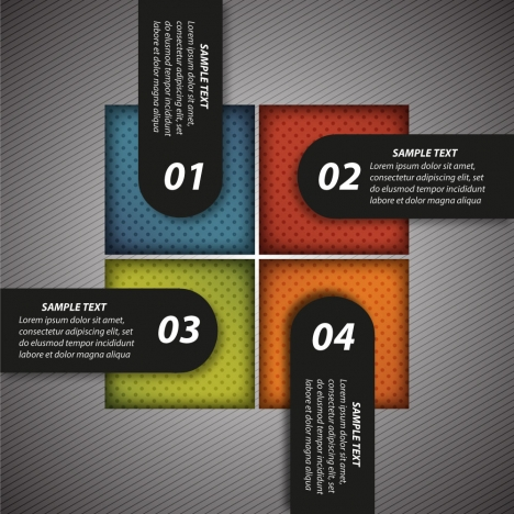 infographic template with number tabs on colorful squares