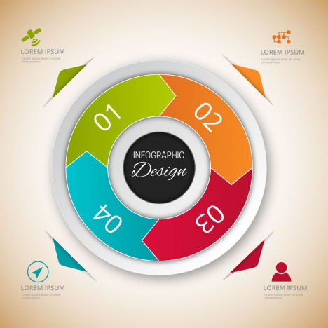 infographic vector design with 3d round illustration