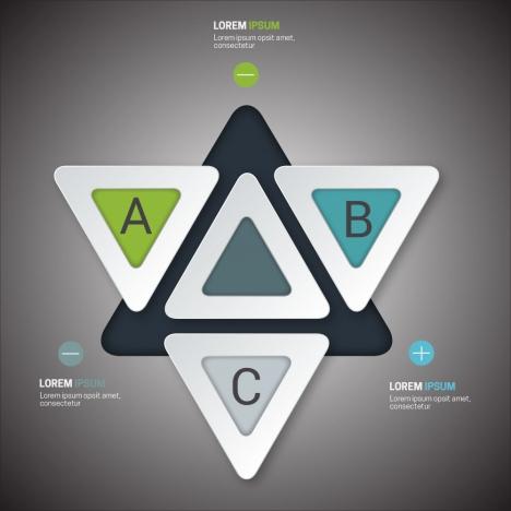 infographic vector design with 3d triangles arrangement