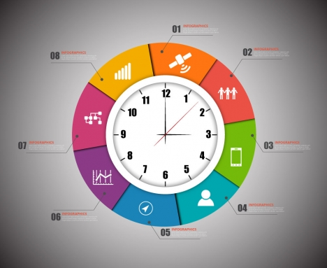 infographic vector design with clock illustration