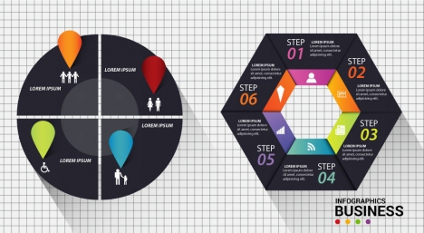 infographic vector design with dark cycle diagrams