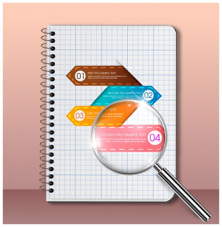 infographic vector illustration with paper sheet and magnifier