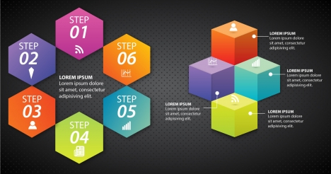 infographic vector with colorful hexagons and cubes
