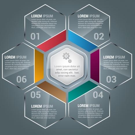 infographics design transparent shiny hexagon decoration