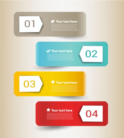 inforgraphic vector illustration on horizontal colored labels