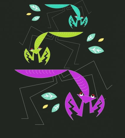 insect background dark design grasshoppers icons