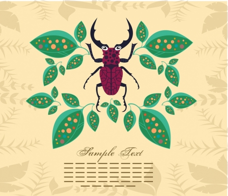 insect background leaves bug icons vignette decor