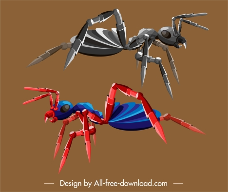 insect robot icons ant sketch colored 3d