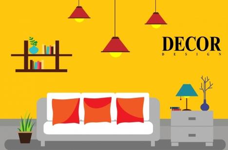 Interior Decor Background Colored Furniture Icons