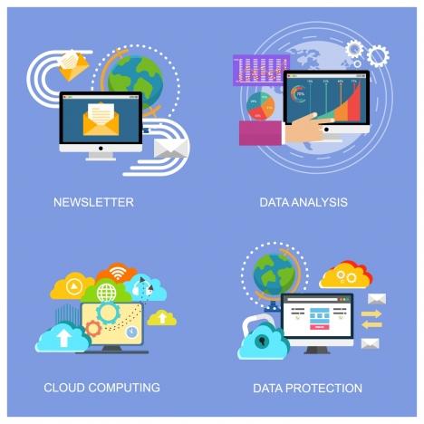 internet application sets with various color symbols