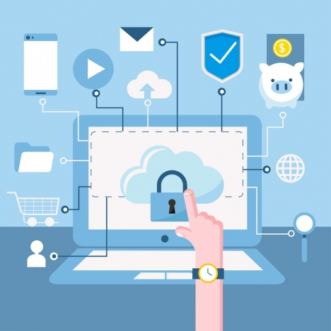 internet security background laptop key ui icons decor