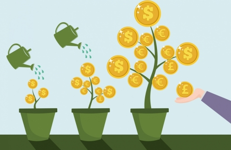 investment concept background growing trees coins symbols design