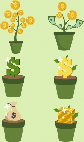 investment design elements pot tree coins gold icons