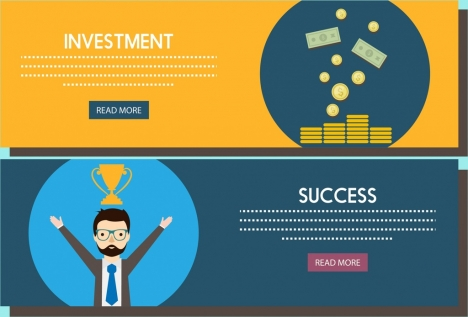 investment success concept banners colorful webpage style