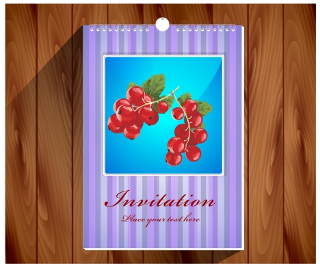 invitation card designed with notebook on wooden background