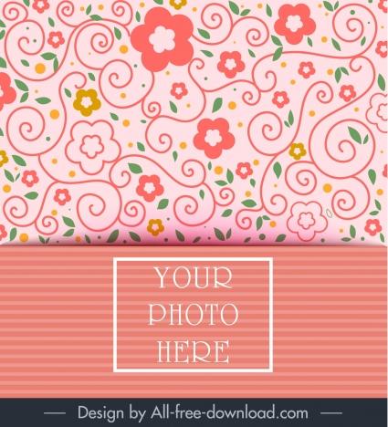 Invitation Card Template Classical Flat Flora Decor Vectors