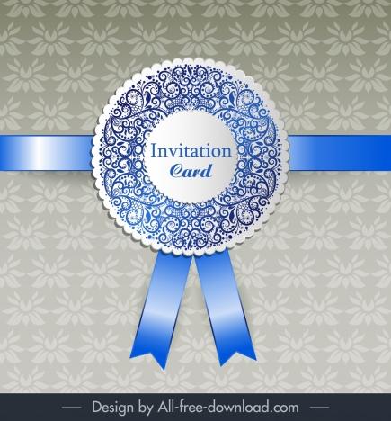 Invitation Card Template Shiny Elegant Ribbon Floral Decor