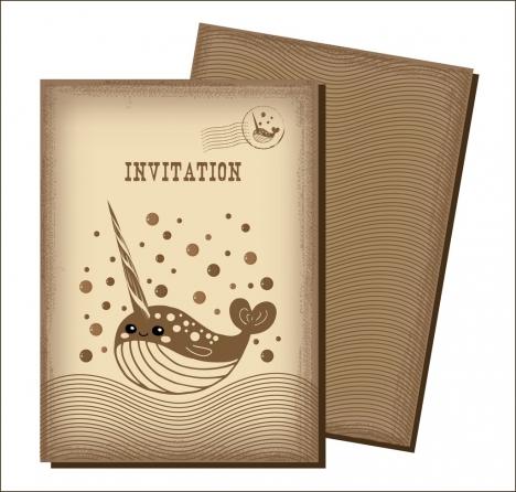 invitation card templates curves whale ornament retro style
