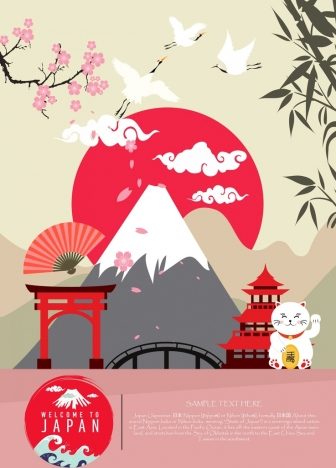 japan advertisement classical decor various traditional symbols