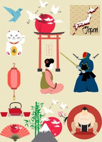 japan design elements various colored symbols