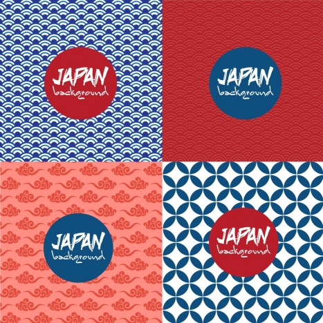 japan style background sets repeating pattern decor