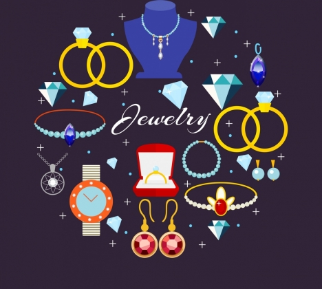jewelry design elements luxury accessories icons