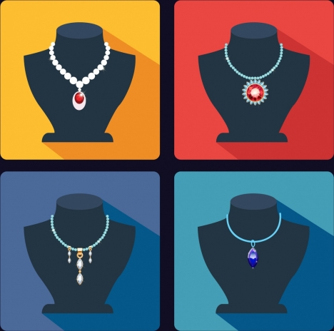 jewelry icons collection various display ornament types