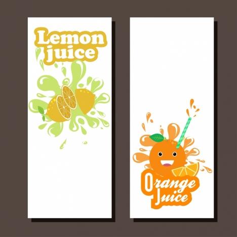 juice leaflet sets colorful design orange lemon decoration